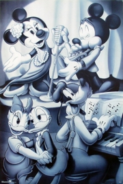 Mickey & Friends Nightclub B&W Poster Print by Walt Disney (24 x 36)